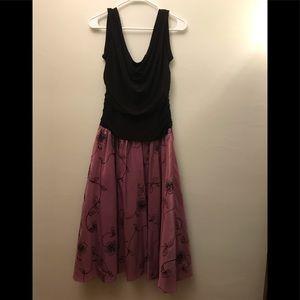 S.L. FASHIONS BLACK PURPLE DRESS